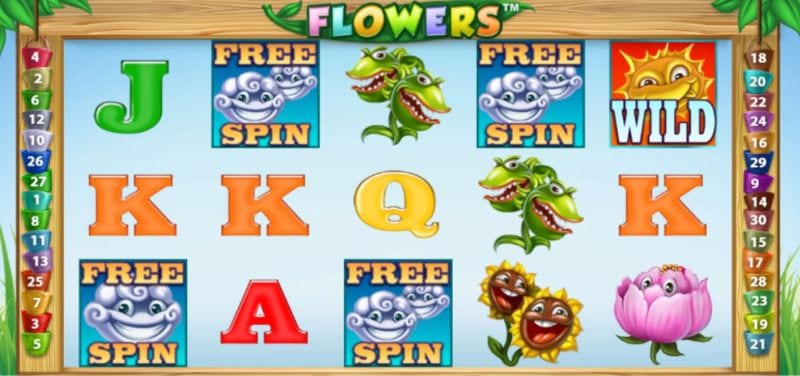 Flowers Free Spins (Netent slot machine)