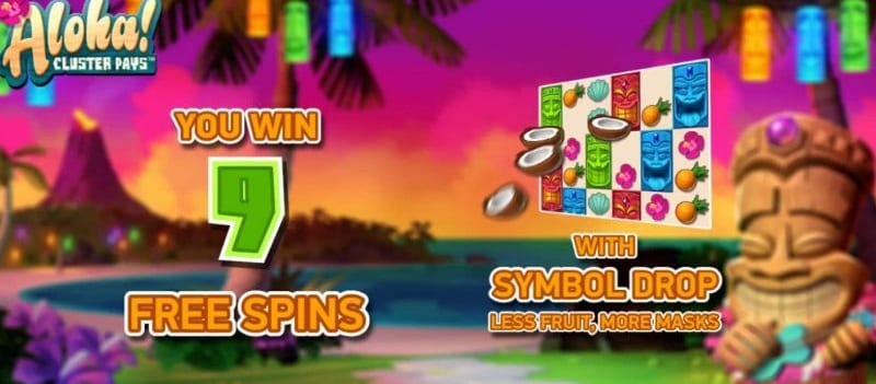 Free Spins Aloha! Cluster Pays (Netent)