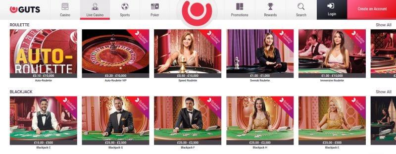 Guts online live casino