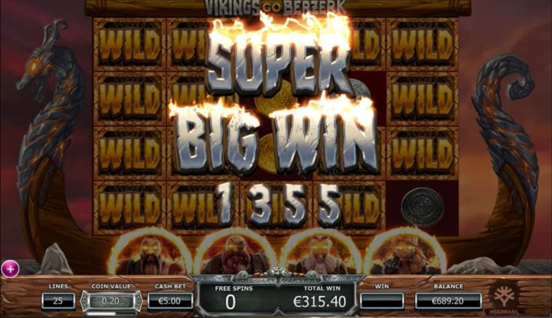 Vikings go Berzerk Super Big Win during Free Spin Feature