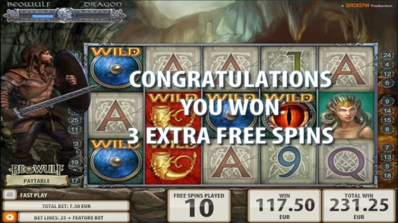 Beowulf Quickspin extra Free Spins