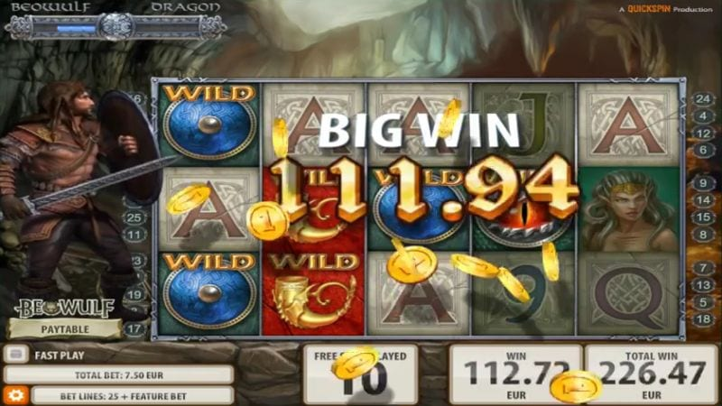 Big win on Beowulf Quickspin online slot