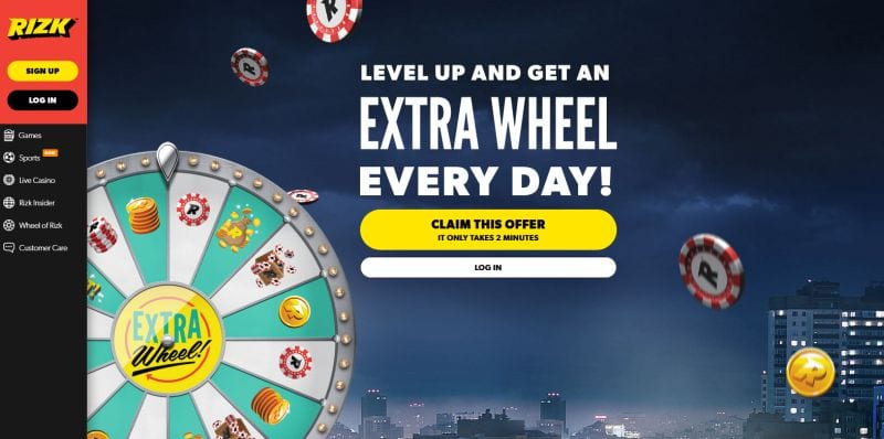 Rizk Wheel : only on Rizk casino