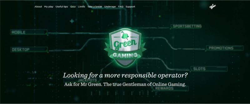 Green Gaming : the responsible gaming by Mr Green