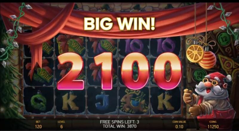 Big win won on Jingle Spin slot machine