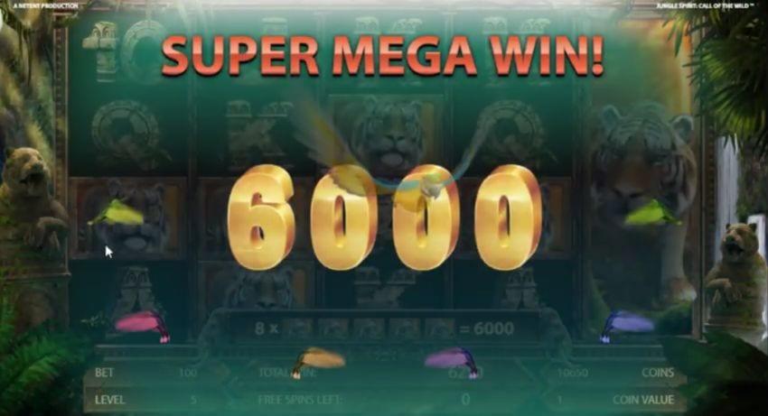 A super mega win on Jungle Spirit Netent slot machine